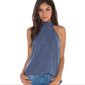 Cloth & Stone Dark Chambray Halter Blouse Size M